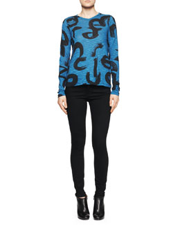 Proenza Schouler Brushstroke-Print Tissue Jersey Top and Ultra-Skinny Ankle Jeans