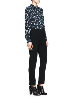Proenza Schouler Printed Pocket Blouse and Notched Straight-Leg Pants