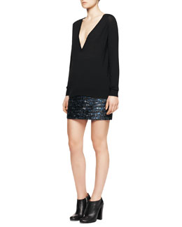 Proenza Schouler Deep-V Merino Sweater and Wave-Print Jacquard Miniskirt