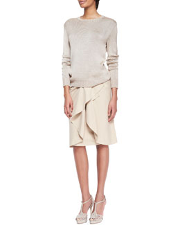 Ralph Lauren Collection Silk-Cashmere Ballet Sweater and Madelaine Ruffle-Front Skirt
