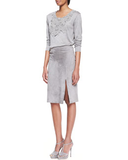 Ralph Lauren Collection Embellished Scoop-Neck Top and Anastasia Suede Slit Skirt