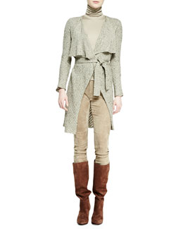 Ralph Lauren Collection Helene Drape-Neck Jacket, Sleeveless Turtleneck Top & Suede Eleanora Pants