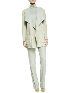 Ralph Lauren Collection Helene Suede Drape-Neck Jacket, Sleeveless Turtleneck Top & Skylar Wool Flare Pants