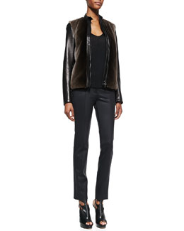 Reed Krakoff Fur-Front Bomber Jacket, Chiffon-Sleeve Blouse & Coated Straight-Leg Pants