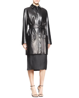 THE ROW Parkan Belted Leather Coat and Strapless Geometric Jacquard Dress