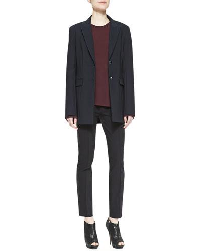 Two-Button Scuba Jacket, Guri Crepe Top & Shama Slim Stretch Pants