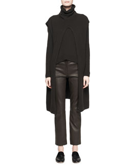 THE ROW Petra Long Split-Front Vest, Camille Notched Cashmere Sweater & Landly Stretch Lambskin Pants