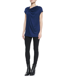 Helmut Lang Twist-Neck Slub-Jersey Top & Reflex Full-Length Lightweight Leggings