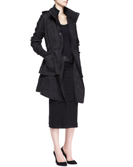 Donna Karan Jacket with Detachable Vest, Long-Sleeve Layered-Hem Dress & Wide Leather Hook Belt
