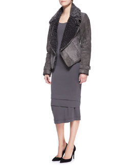 Donna Karan Short Lambskin Shearling Jacket & Long-Sleeve Layered-Hem Dress