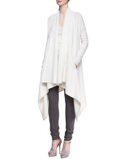 Donna Karan Long-Sleeve Draped Cozy Coat & Ribbed Cashmere-Blend Tank Top