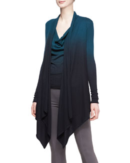 Donna Karan Featherweight Ombre Cozy Cardigan and Cap-Sleeve Drape Top
