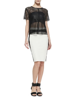 La Pina Short-Sleeve Laser-Cut Leather Top & Leather-Panel Pencil Skirt