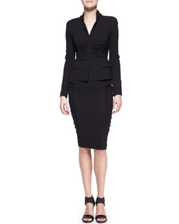 Donna Karan Long-Sleeve Crushed Cardigan Jacket & Pull-On Crushed Pencil Skirt