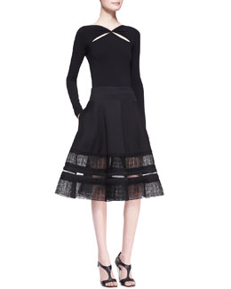 Donna Karan Long-Sleeve Peekaboo Slash Top & Lace-Inset Circle Skirt