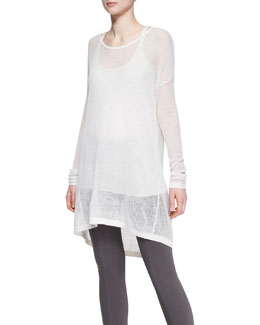 Donna Karan Easy Long-Sleeve Cashmere Tee & Ribbed Tank Top