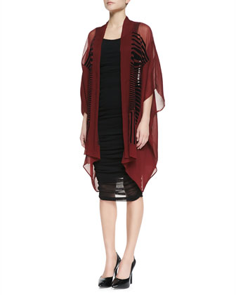 Oversized Velvet-Striped Cardigan & Solid Tank Fitted Dress