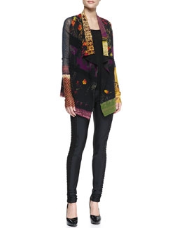Jean Paul Gaultier Sheer Patchwork-Print Cardigan, Solid Tank & Side-Cutout Leggings