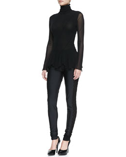 Jean Paul Gaultier Long-Sleeve Seamed Flounce-Bottom Top & Side-Cutout Leggings