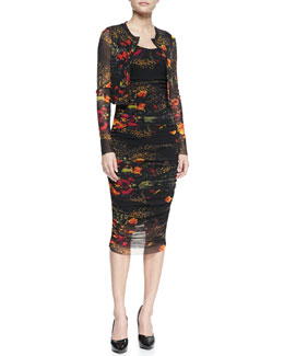 Jean Paul Gaultier Printed Floral Cropped Cardigan & Sleeveless Floral-Printed Fitted Dress