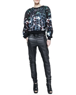 Faith Connexion Long-Sleeve Printed Organza Sweater & Mixed Leather/Fleece Pants