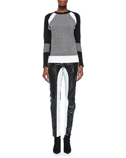 Faith Connexion Long-Sleeve Mixed-Knit Sweater & Leather Pants