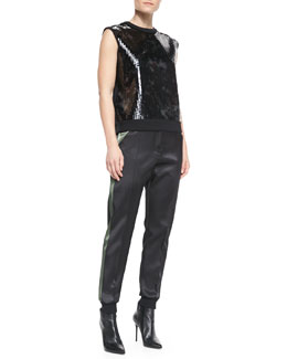 Faith Connexion Sleeveless Sequined Sweatshirt & Bicolor Satin Double-Face Pants