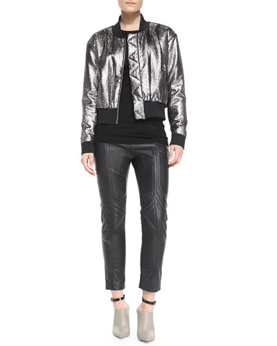 Faith Connexion Long-Sleeve Python-Print Bomber Jacket, Long-Sleeve Wool Knit Top & Biker Cropped Leather Pants