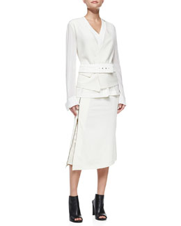Donna Karan Collarless Wool Jacket, Belt, Blouse & Mid-Calf Hip-Slung Midi Skirt with Zip