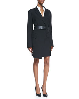 Donna Karan Long Gabardine Coat, Long-Sleeve Blouse with Cotton Yoke & Slice Leather Belt