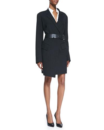 Donna Karan Long Gabardine Coat, Long-Sleeve Blouse with Cotton Yoke & Slice Leather Belt