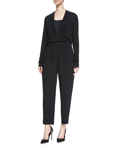 Donna Karan Long-Sleeve V-Neck Blouse & Cropped Pants