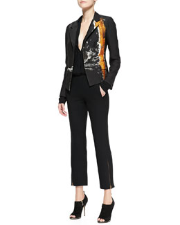 Donna Karan Metallic Printed Boyfriend Jacket, Long-Sleeve V-Neck Blouse & Ankle Zip Trousers