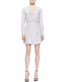 Halston Heritage Long-Sleeve Tie-Waist Shirtdress & Lace-Inset Silk Camisole