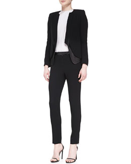 Halston Heritage Leather/Crepe Long-Sleeve Blazer, Lace-Back High-Neck Top & Leather-Waist Slim Crepe Pants