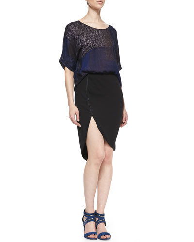 Halston Heritage Colorblock Boxy Georgette Top & Trimmed Cutaway Pencil Skirt