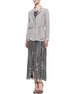 Halston Heritage Long-Sleeve Tie-Waist Blouse & Sleeveless Printed Racerback Maxi Dress