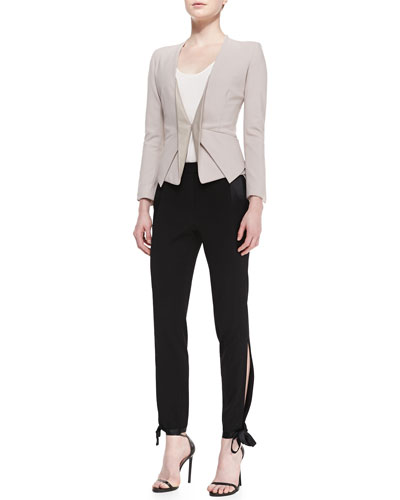 Halston Heritage Long-Sleeve Blazer w/Leather Lapel, High-Low Stretch Racerback Tank & Ankle-Tie Gabardine Tuxedo Pants
