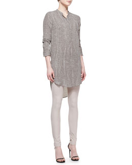 Halston Heritage 3/4-Sleeve Georgette Shirtdress & Leather-Detail Skinny Pants