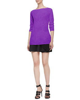 Halston Heritage Boat-Neck Mesh/Slub Top & Tiered Skirt w/ Drape Detail