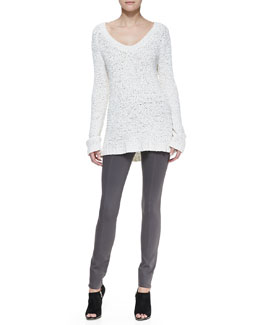 Donna Karan Silk Knit Long-Sleeve V-Neck Top & Pull-On Seamed Legging Pants