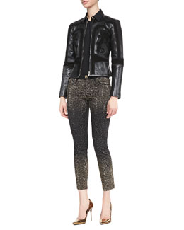 Versace Collection Suede-Scroll-Appliqued Leather Jacket, Silk Blouse with Lace-Up Sleeves, Metallic Dot-Embellished Stretch Jeans