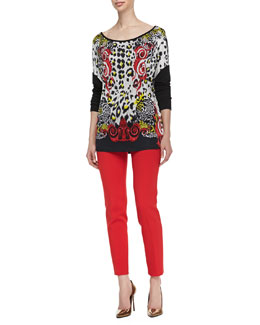 Versace Collection Leopard/Scroll Printed Top & Slim-Leg Cady Pants