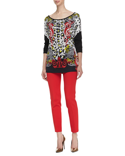 Leopard/Scroll Printed Top & Slim-Leg Cady Pants