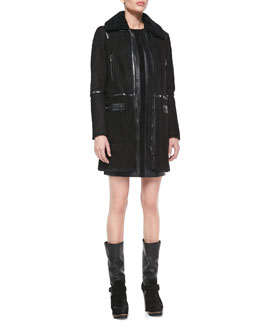 Belstaff Suede Shearling-Collar Zip Coat and Sleeveless Paneled Leather Combo Dress