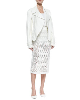Donna Karan Topstitched Lambskin Trench Jacket, Contour Leather Belt, Long-Sleeve V-Neck Blouse & Eyelet A-Line Long Skirt