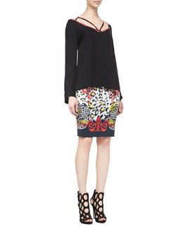 Versace Collection Long-Sleeve Silk Top with Beaded Harness & High-Waist Leopard/Scroll Printed Skirt