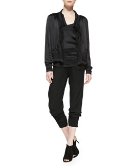 Donna Karan Leather Needlepunch Cardigan, Needlepunch Racerback Tank & Zip-Cuff Pants