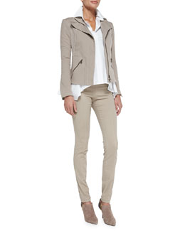 Donna Karan Stretch Denim Zip Jacket, Long-Sleeve Button-Up Cotton Shirt & Stretch Denim Skinny Pants