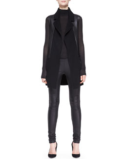 Donna Karan Sheer-Sleeve Turtleneck Top, Felt Vest with Leather & Lambskin Leather/Jersey Leggings